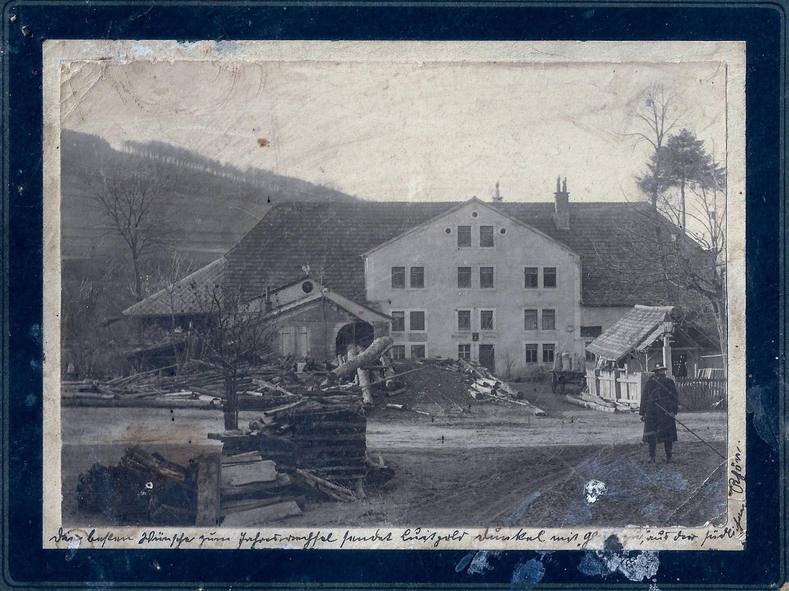 Schneidmühle mit Gruß von Luitpold Dunkel zum Jahreswechsel