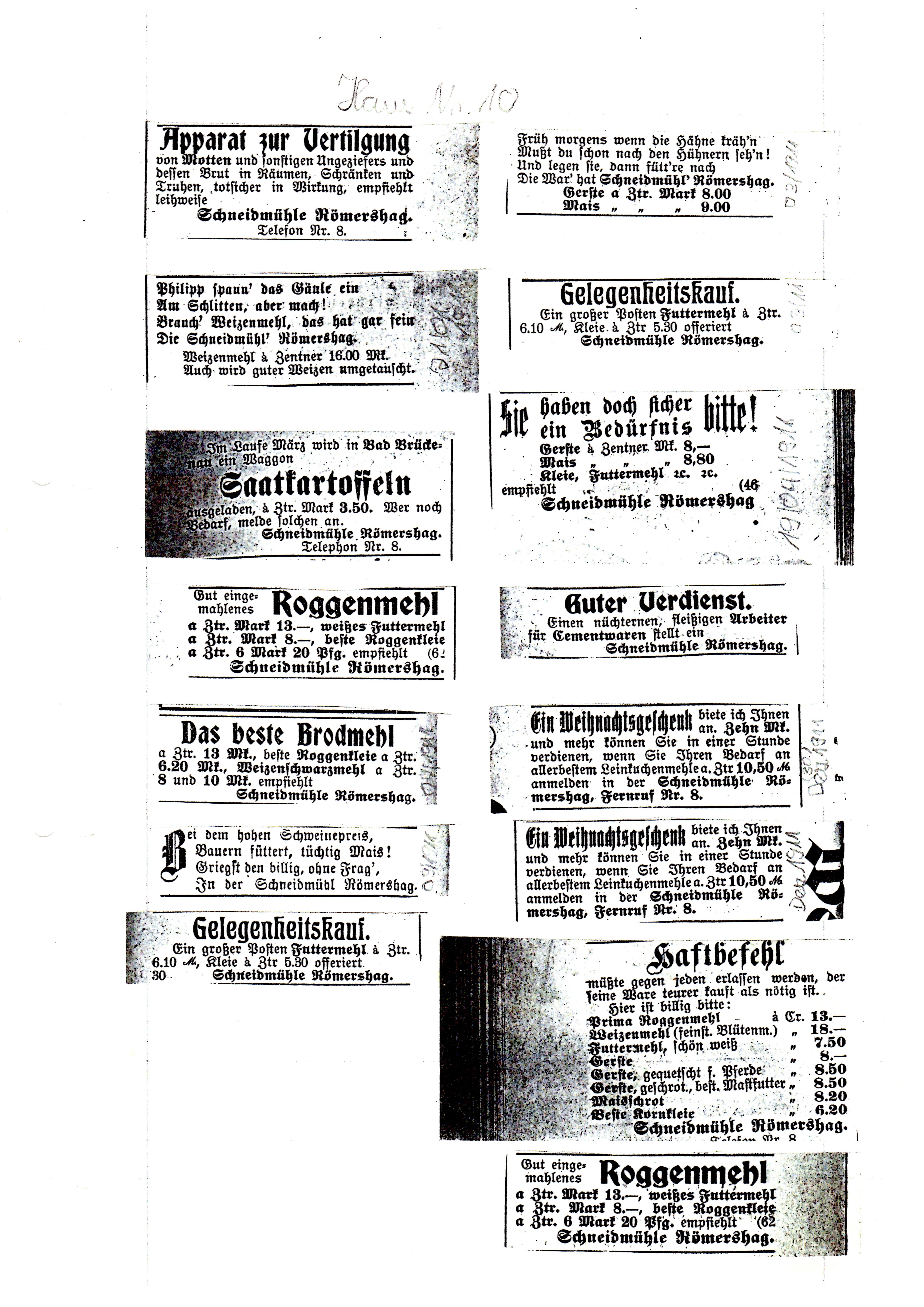 Zeitungsinserate zur Werbung
