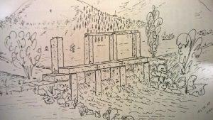 Wehr an der Sinn Zeichnung Edgar G. Kuther 1988