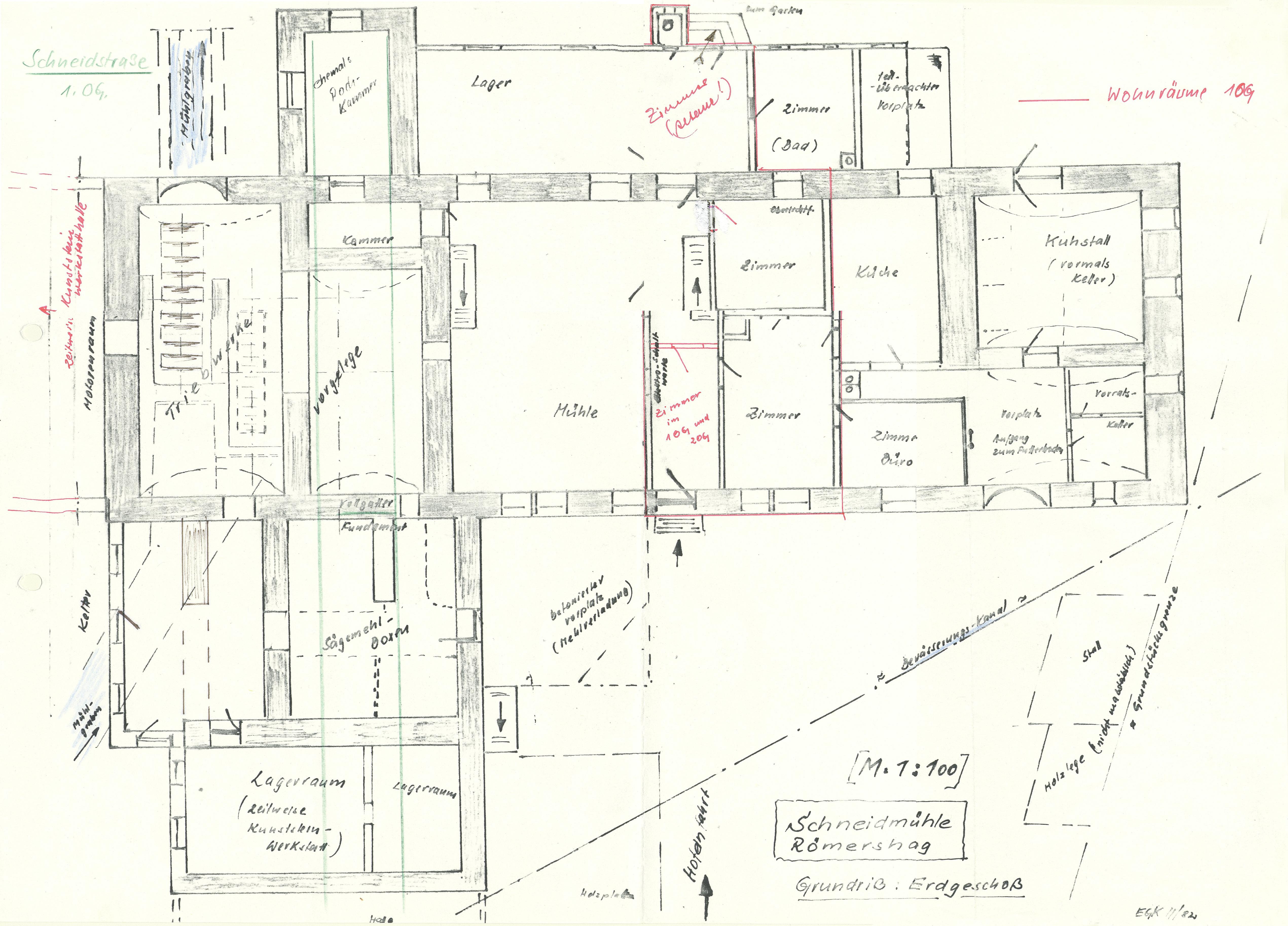 Grundriss Schneidmühle - Zeichnung Edgar G. Kuther 1982