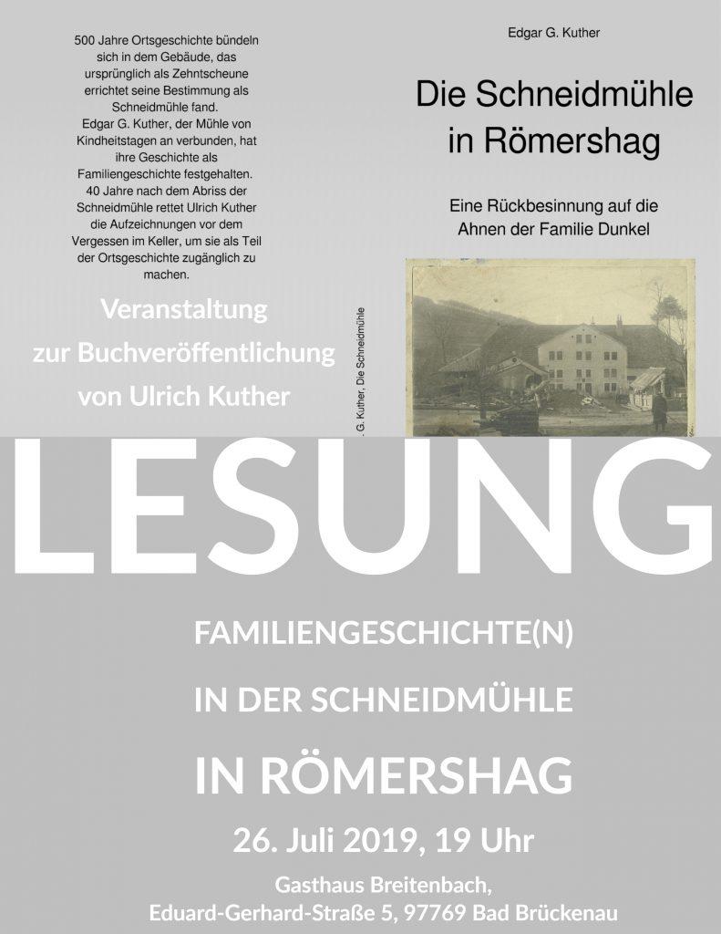 Herzliche Einladung zur Lesung in Römershag